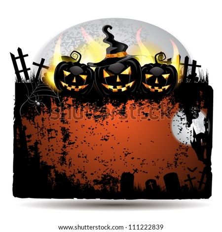 Halloween banner with cemetery and pumpkin