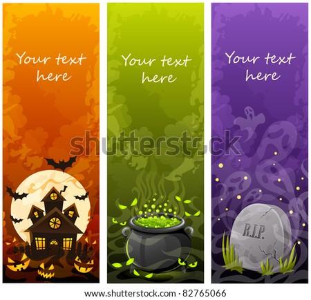 Halloween banners - stock vector
