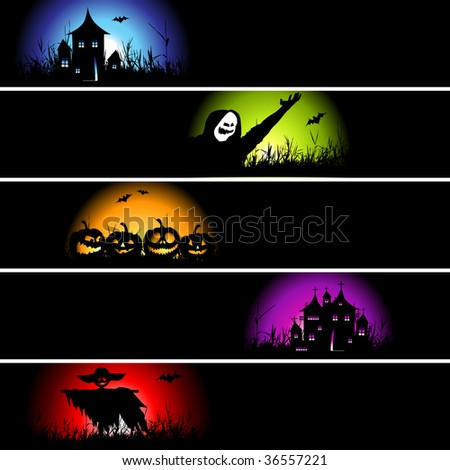Halloween banners for your design - stock vector