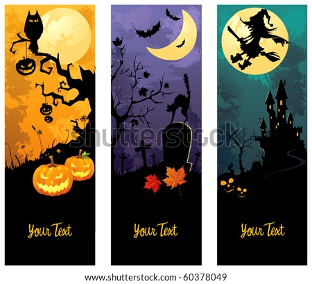 Halloween banners set - stock vector