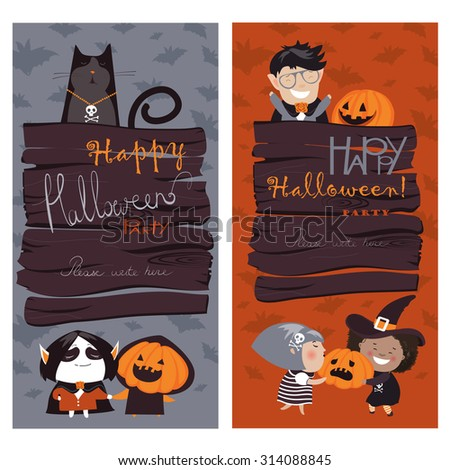 Halloween Banners Set. Vector Illustration. Trick or Treat Stickers. Halloween Party Invitation - stock vector