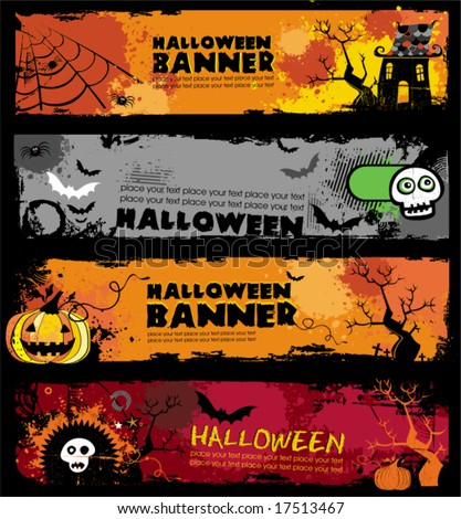 Halloween banners.  To see similar, please VISIT MY GALLERY.   - stock vector