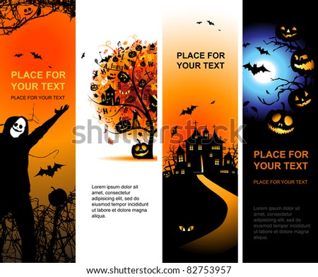 Halloween banners vertical for your design - stock vector