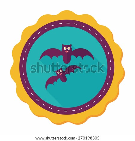 Halloween bat flat icon with long shadow,eps10 - stock vector