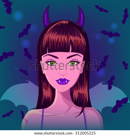 Halloween beautiful vampire with horns, fangs and wings against bats and spider web on background. Sexy glamorous vampire goth. Vector - stock vector
