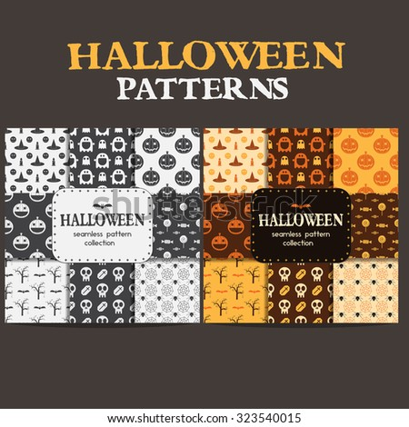 Halloween big bundle pattern collection. Set of seamless background in traditional colors and black and white. Mystic seamless pattern with pumpkin, skull scary halloween elements. - stock vector