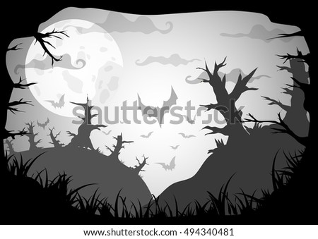 Halloween black and white poster with dead forest on hills at night. Vector background