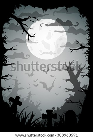Halloween black and white spooky a4 frame border with moon, death trees and bats. Vector background with place for text - stock vector