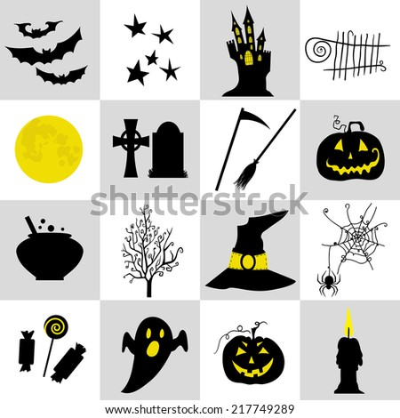 Halloween black  and yellow icons set. Halloween element pumpkin,ghost and bat and other - stock vector