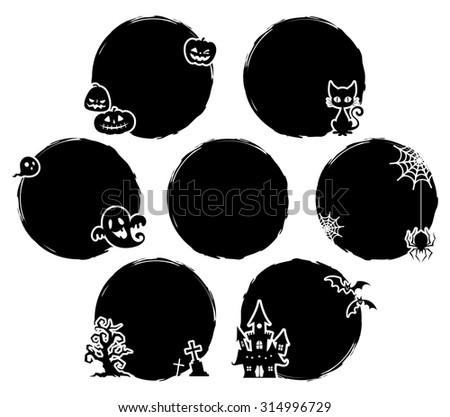 Halloween / Black balloon / Circle / set - stock vector