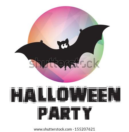Halloween. Black bat flies against the moon. Vector illustration - stock vector