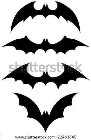 Halloween black bat icon set - stock vector