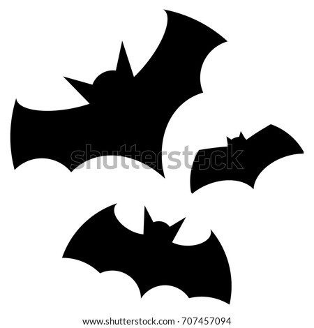 halloween black bat icon set bats silhouettes halloween symbol