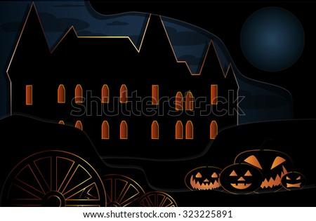 Halloween black castle eps10 - stock vector
