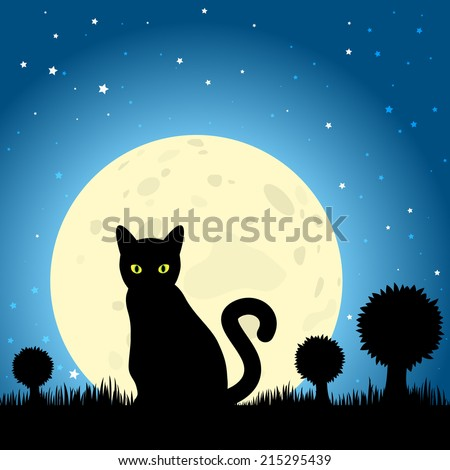 Halloween Black Cat Silhouette Against a Moon Night Sky. EPS10 Vector