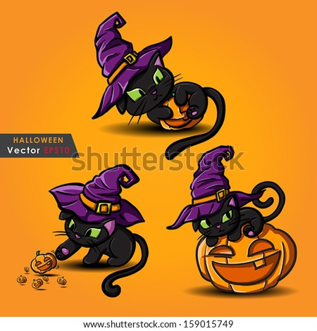 Halloween black cat wearing witches hat and pumpkin vector - stock vector