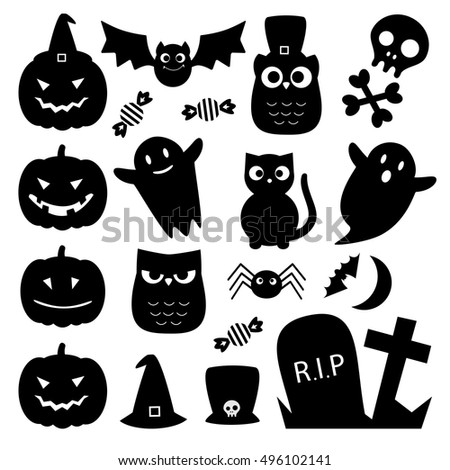 Halloween black cute icons. Vector set of silhouettes