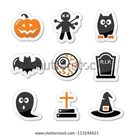 Halloween black icons set as labels - stock vector