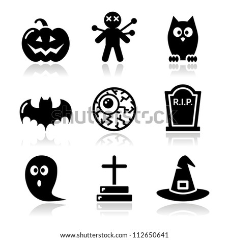 Halloween black icons set - pumpkin, witch, ghost - stock vector