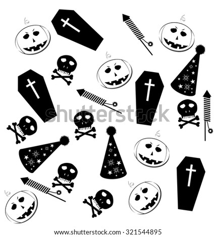 Halloween black object silhouette vector isolated on white - stock vector