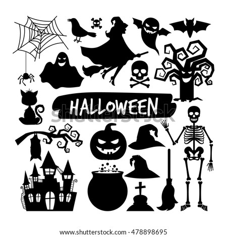 halloween black silhouettes happy halloween vector night icons bat and skeleton owl and - Halloween Black And White