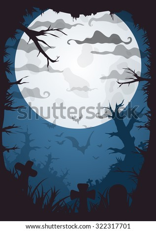 Halloween blue spooky a4 frame border with moon, death trees and bats. Vector background with place for text - stock vector