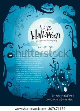Halloween border design with wide copy space - stock vector