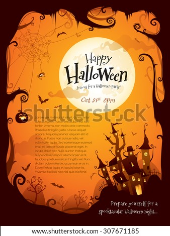 halloween border design with wide copy space - Halloween Design