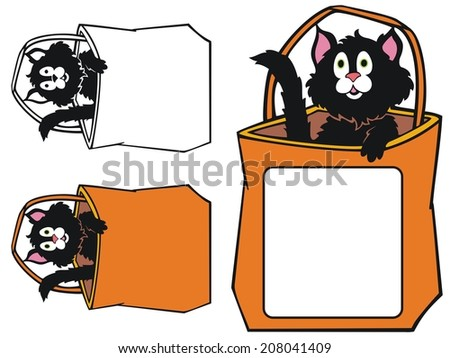 Halloween border, the cat's getting out of the bag - stock vector