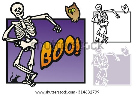Halloween border with skeleton and rat - stock vector