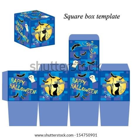 Halloween box template with ghost, black cat and bats, Vector illustration - stock vector