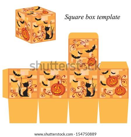 Halloween box template with pumpkin, black cat and bats. Vector illustration. - stock vector