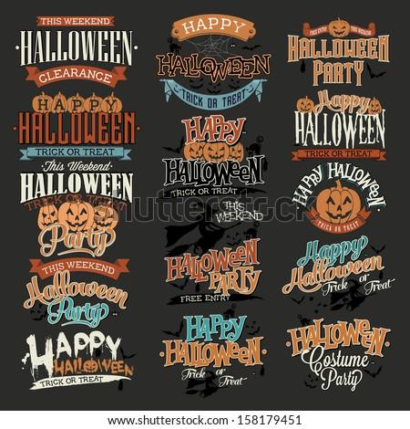 Halloween Calligraphic Designs VIntage Vector Set - stock vector