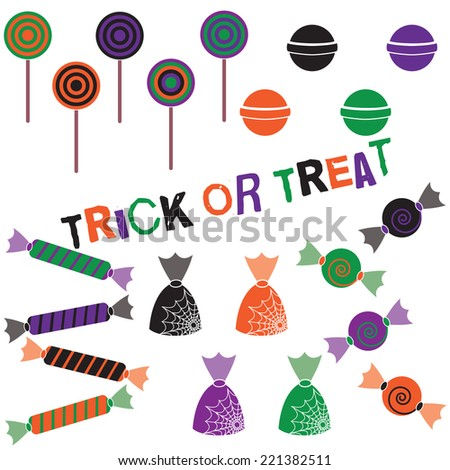 Halloween Candy Clip Art Set. Includes candy graphics created using vector software. - stock vector
