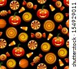 Halloween candy seamless pattern. Texture with sweets, candy corn and pumpkins on black background. Vector illustration  - stock vector