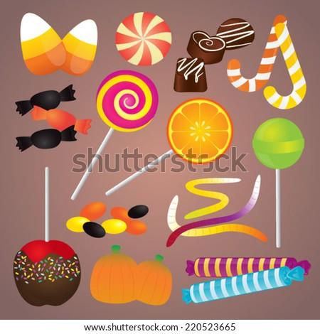 Halloween Candy Set - stock vector