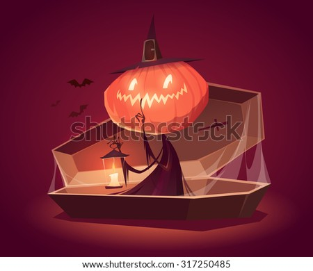 Halloween card, background, poster. Vector illustration. - stock vector