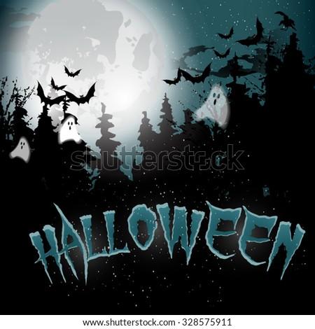 halloween card background, vector illustration, party invitation - stock vector
