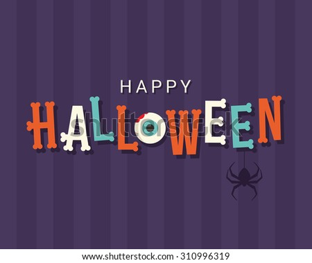 Halloween card, halloween logo title, bones font, editable vector design - stock vector