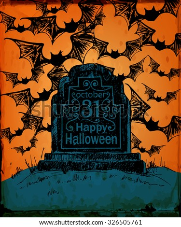 Halloween card. Hand drawn tombstone with lettering on spooky background. Vector illustration contains gradient meshes. - stock vector