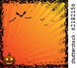 Halloween card - orange - stock