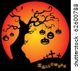 Halloween Card Template with Tree, Hanging Pumpkins and Crosses of a Cemetery in the Dark - stock vector