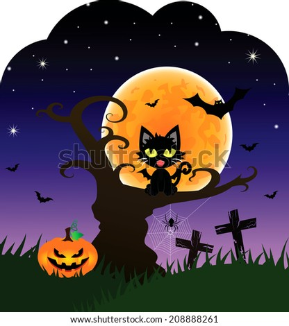 Halloween Card with Black Cat on the Tree at full Moon during Halloween's Night.EPS 10 vector - stock vector