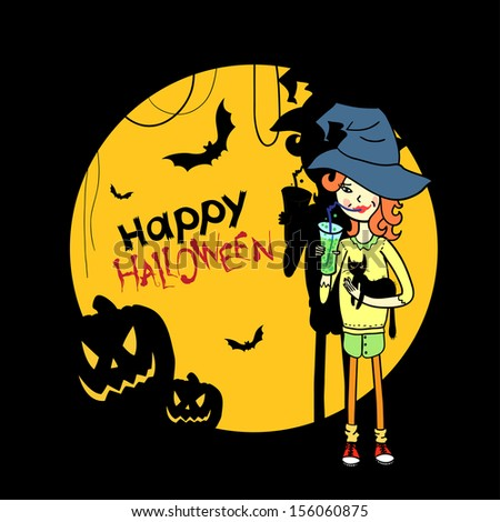 Halloween card with cartoon witch. Happy Halloween