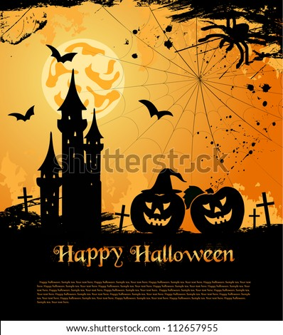 Halloween card with castle, bats and pumpkin. Vector illustration - stock vector