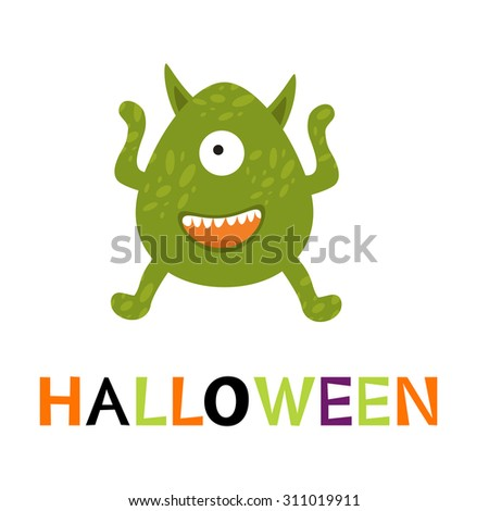 Halloween card with cute monster. vector illustration - stock vector
