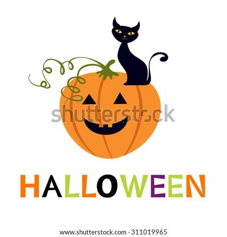 Halloween card with cuteblack cat and pumpkin - stock vector