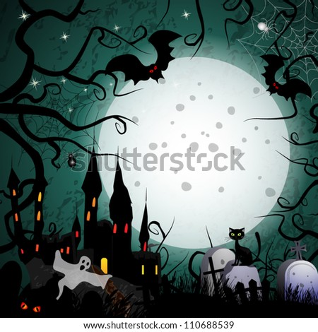 Halloween card  with ghost castle