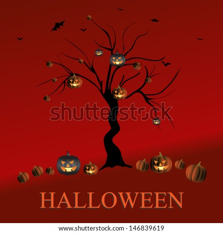 Halloween card with Halloween pumpkins and silhouette tree.Vector eps10, illustration. - stock vector