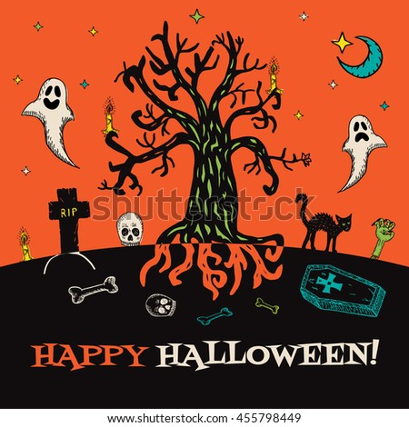 Halloween card with hand drawn cemetery landscape and scary elements on orange background. Vector hand drawn illustration. - stock vector